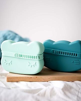 We Might Be Tiny Contenitore Snackie 2 in 1 Porta Pranzo e Piatto Orso, Verde Menta -  Senza BPA! Contenitori Latte e Snack