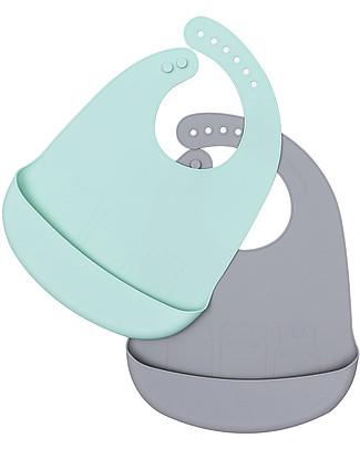 We Might Be Tiny Set di 2 Bavaglini in Silicone Catchie Bibs, Grigio/Menta - Senza BPA! Bavagli Impermeabili