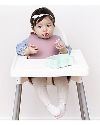 We Might Be Tiny Set di 2 Bavaglini in Silicone Catchie Bibs, Rosa Chiaro/Rosa Antico - Senza BPA! Bavagli Impermeabili