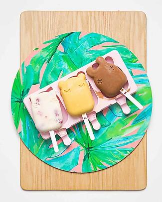 We Might Be Tiny Stampini 2 in 1 Ghiaccioli e Biscotti Gatto/Orso/Coniglietto, Rosa - Senza BPA! Contenitori Latte e Snack