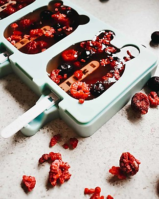 We Might Be Tiny Stampini 2 in 1 Ghiaccioli e Biscotti Gatto/Orso/Coniglietto, Verde Menta - Senza BPA! Contenitori Latte e Snack