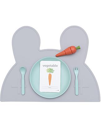 We Might Be Tiny Tovaglietta antiscivolo Coniglietto, Grigio Chiaro - Senza BPA! Set Pappa