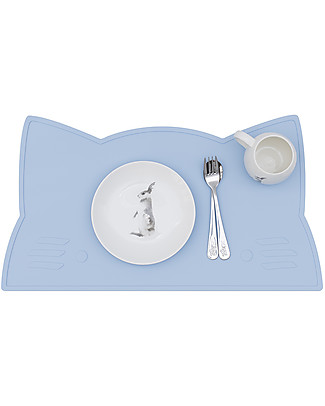 We Might Be Tiny Tovaglietta antiscivolo Gatto, Celeste - Senza BPA! Set Pappa