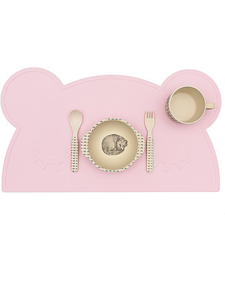 We Might Be Tiny Tovaglietta Antiscivolo Orso, Rosa - Senza BPA! Set Pappa