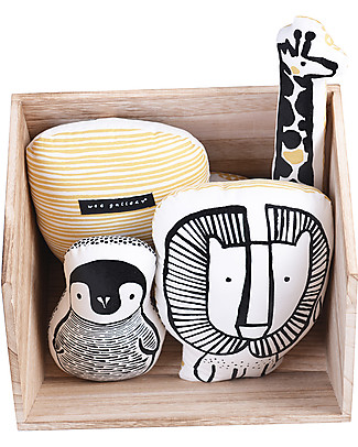 Wee Gallery Nursery Friends, Cuscino Pinguino – 20 cm - Cotone Bio Cuscini Arredo