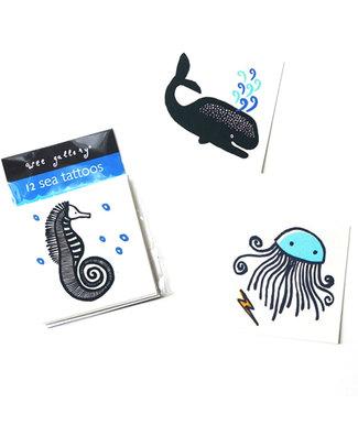 Wee Gallery Tatuaggi Temporanei Animali del Mare (12 Pezzi) - atossici e sicuri Tattuagi