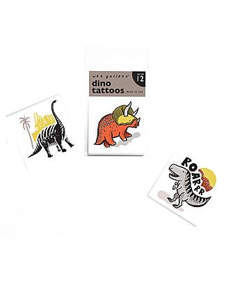 Wee Gallery Tatuaggi Temporanei Dino (12 Pezzi) - atossici e sicuri Tatuaggi