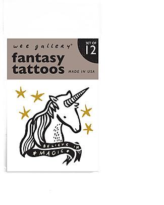 Wee Gallery Tatuaggi Temporanei Fantasy (12 Pezzi) - atossici e sicuri Tatuaggi