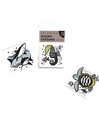 Wee Gallery Tatuaggi Temporanei Ocean (12 Pezzi) - atossici e sicuri Tatuaggi