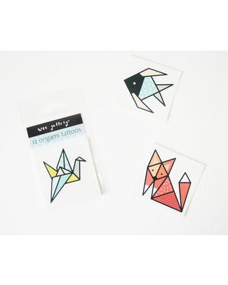 Wee Gallery Tatuaggi Temporanei Origami (12 Pezzi) - atossici e sicuri Tattuagi