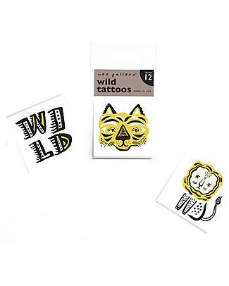 Wee Gallery Tatuaggi Temporanei Wild (12 Pezzi) - atossici e sicuri Tatuaggi