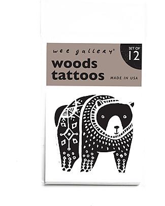 Wee Gallery Tatuaggi Temporanei Woods (12 Pezzi) - atossici e sicuri Tatuaggi