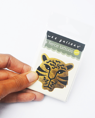 Wee Gallery Temporary Tattoos - Fierce (6 pieces) non-toxic and safe Tattoos