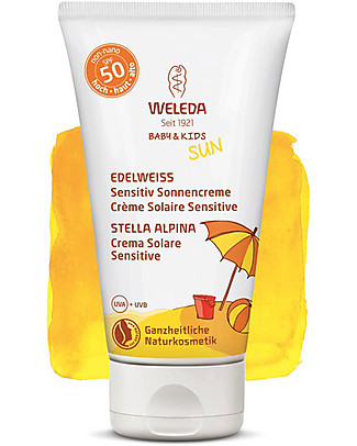 Weleda Crema Solare Sensitive SPF 50, Stella Alpina - 50ml, Ultra Resistente all'Acqua! Solari