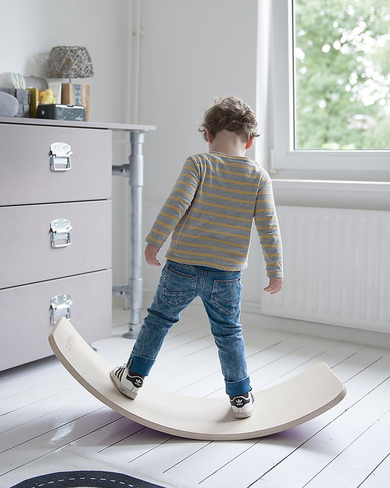 Wobbel Wobbel Original Tavola D Equilibrio In Legno Smalto Trasparente E Feltro Azzurro Cielo Divertimento Ed Esercizio Per Grandi E Piccini Unisex Bambini