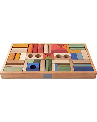 Wooden Story Blocchi da Costruzione - Legno Arcobaleno - 54 Pezzi (pigmenti naturali e cera d'api) Construzioni In Legno