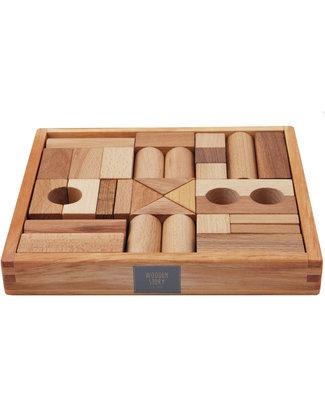 Wooden Story Blocchi da Costruzione - Legno Naturale -30 Pezzi (stimolano la creatività e risvegliano l'immaginazione!) Construzioni In Legno