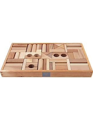 Wooden Story Blocchi da Costruzione - Legno Naturale - 54 Pezzi (stimolano la creatività e risvegliano l'immaginazione!) Construzioni In Legno