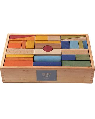Wooden Story Blocchi da Costruzione XL - Da 1 Anno - Legno Arcobaleno - 30 Pezzi (pigmenti naturali e cera d'api) Construzioni In Legno