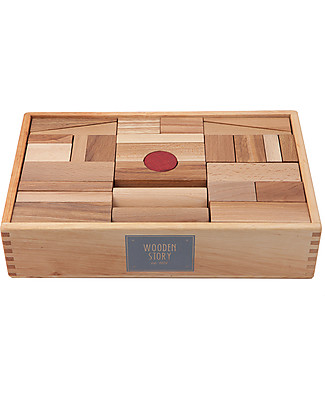 Wooden Story Blocchi da Costruzione XL - Da 1 Anno! - Legno Naturale - 63 Pezzi Construzioni In Legno