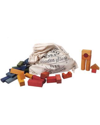Wooden Story Blocchi in legno colorato + Sacco di Cotone - 100 Pezzi (pigmenti naturali e cera d'api) Construzioni In Legno