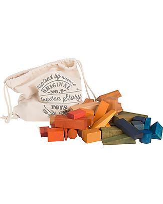 Wooden Story Blocchi in Legno Colorato XL + Sacco di Cotone - 50 Pezzi - da 1 Anno Construzioni In Legno