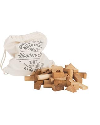 Wooden Story Blocchi in legno naturale + Sacco di Cotone - 100 Pezzi (stimolano la creatività e risvegliano l'immaginazione!) Construzioni In Legno