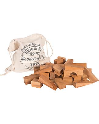 Wooden Story Blocchi in Legno Naturale + Sacco di Cotone - 50 Pezzi XL - Da Un Anno Construzioni In Legno