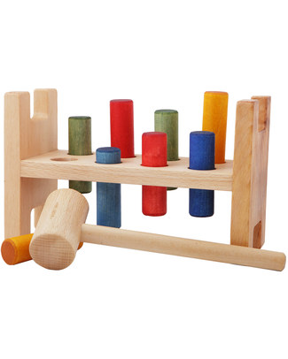 Wooden Story Natural Wood Pound-a-Peg (the classic game is back!) Wooden Stacking Toys