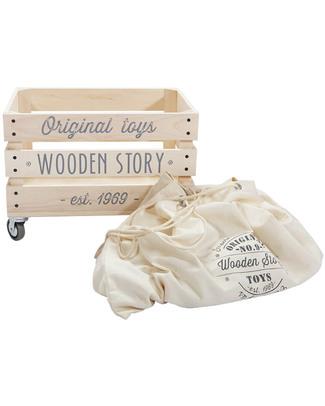 Wooden Story Scatola per Giochi - Legno Naturale + Sacco in cotone non trattato Contenitori Porta Giochi