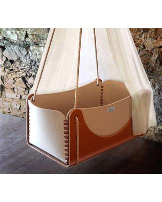 Woodly Culla Sospesa Roll + Materasso - Rosso - Lana e Legno - Made in Italy Culle e Ceste