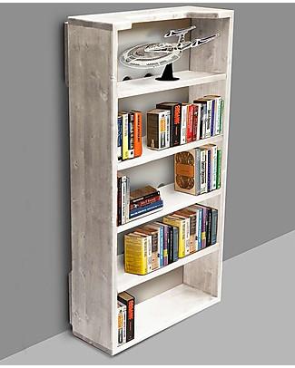 Woodly Kit Libreria per Lettino Montessori SMALL - Bianco Shabby - Made in Italy Letti Montessoriani