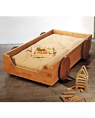 Woodly Lettino Montessoriano con Ruote BIG Giunzioni Invisibili - Abete Mordenzato Miele - Made in Italy (Spedizione Gratuita in Italia) Letti Montessoriani