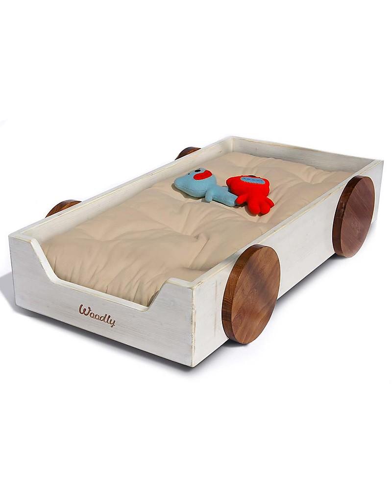 Woodly Lettino Montessoriano con ruote SMALL Giunzioni Invisibili , Bianco  Shabby , Made in Italy Letti