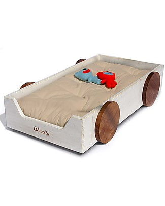 Woodly Lettino Montessoriano con ruote SMALL Giunzioni Invisibili - Bianco Shabby - Made in Italy (Spedizione Gratuita in Italia) Letti Montessoriani