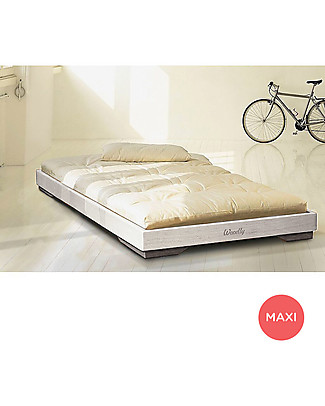 Woodly Letto Basso Puro Maxi - Bianco Shabby - 90 x 200 cm - Made in Italy Letti Montessoriani