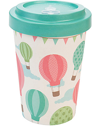 Woodway Bamboo cup, Baloons Green - 400ml Cups & Beakers