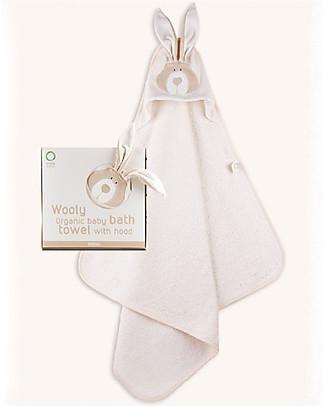 Wooly Organic Asciugamano Triangolo con Cappuccio, Coniglietto – 75x75 cm, 100% cotone bio Accappatoi e Asciugamani