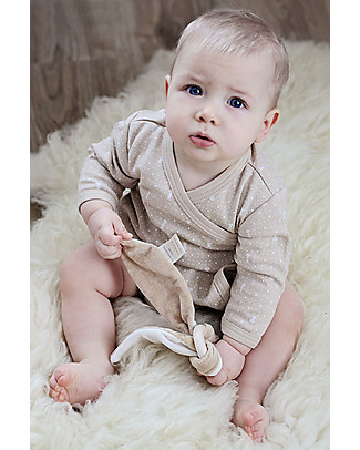 Wooly Organic Body Maniche Lunghe, Marrone con stampa ecrù – 100% cotone bio Body Manica Lunga