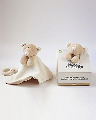 Wooly Organic DouDou Comforter con Massaggiagengive in Legno, Orsetto – 100% cotone bio Doudou