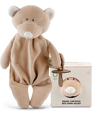 Wooly Organic DouDou Comforter Porta Ciuccio, Orsetto – 100% cotone bio Doudou