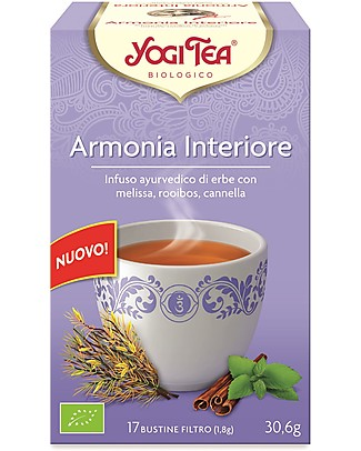 Yogi Tea Armonia Interiore, Infuso Ayurvedico con Melissa, Roobois, Cannella - 17 bustine Tisane