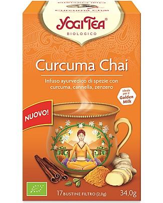 Yogi Tea Curcuma Chai, Infuso Ayurvedico con Curcuma, Cannella, Zenzero - 17 bustine Tisane