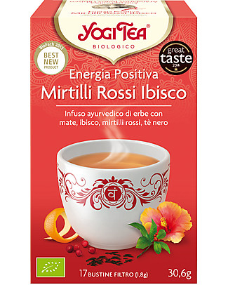 Yogi Tea Energia Positiva, Infuso Ayurvedico con Mate, Ibisco, Mirtilli Rossi, Tè Nero - 17 bustine Tisane