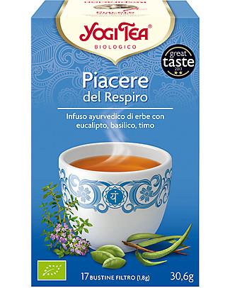 Yogi Tea Piacere del Respiro, Infuso Ayurvedico con Eucalipto, Basilico, Timo - 17 bustine Tisane