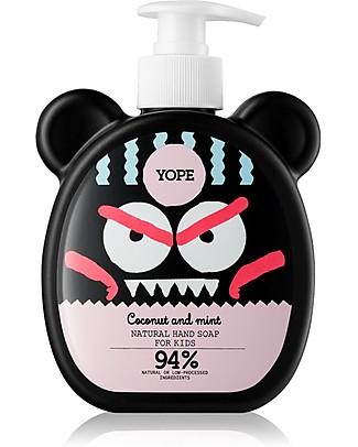 Yope Sapone Mani Naturale per Bambini, 400 ml - Cocco e Menta Detergenza