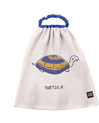 Zac 4 Kids Bavaglino con Elastico Collezione Palio, Blu con Tartaruga - 100% Cotone (Perfetto per l'Asilo) null