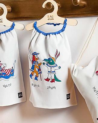 Zac 4 Kids Bavaglino con Elastico - Collezione Venezia, Cobalto/Bauta e Zanni- 100% Cotone (Perfetto per l'Asilo) Bavagli Con Elastico