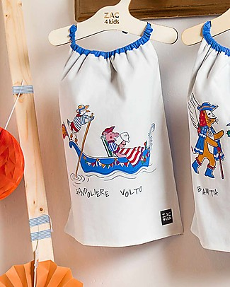Zac 4 Kids Bavaglino con Elastico - Collezione Venezia, Cobalto/Gondoliere e Volto - 100% Cotone (Perfetto per l'Asilo) Bavagli Con Elastico