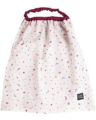 Zac 4 Kids Bavaglino con Elastico - Collezione Venezia, Magenta/Confetti - 100% Cotone (Perfetto per l'Asilo) Bavagli Con Elastico